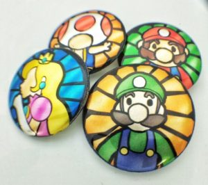 metallic fan art buttons