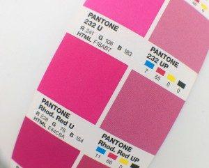 Pantone Pinks CMYK RGB